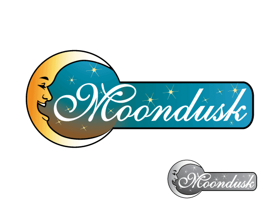 Moondusk.com logo design included with business name and domain name, Moondusk.com.