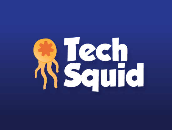 Techsquid.com logo design included with business name and domain name, Techsquid.com.