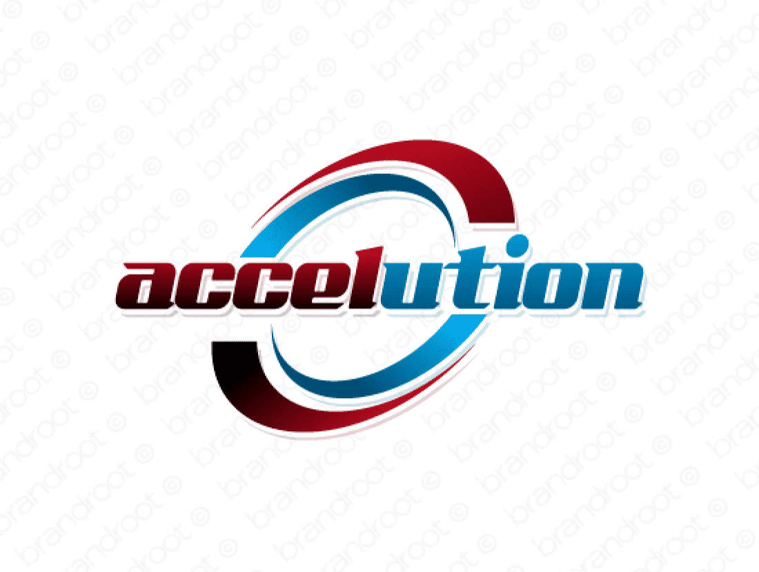 Accelution logo design included with business name and domain name, Accelution.com.