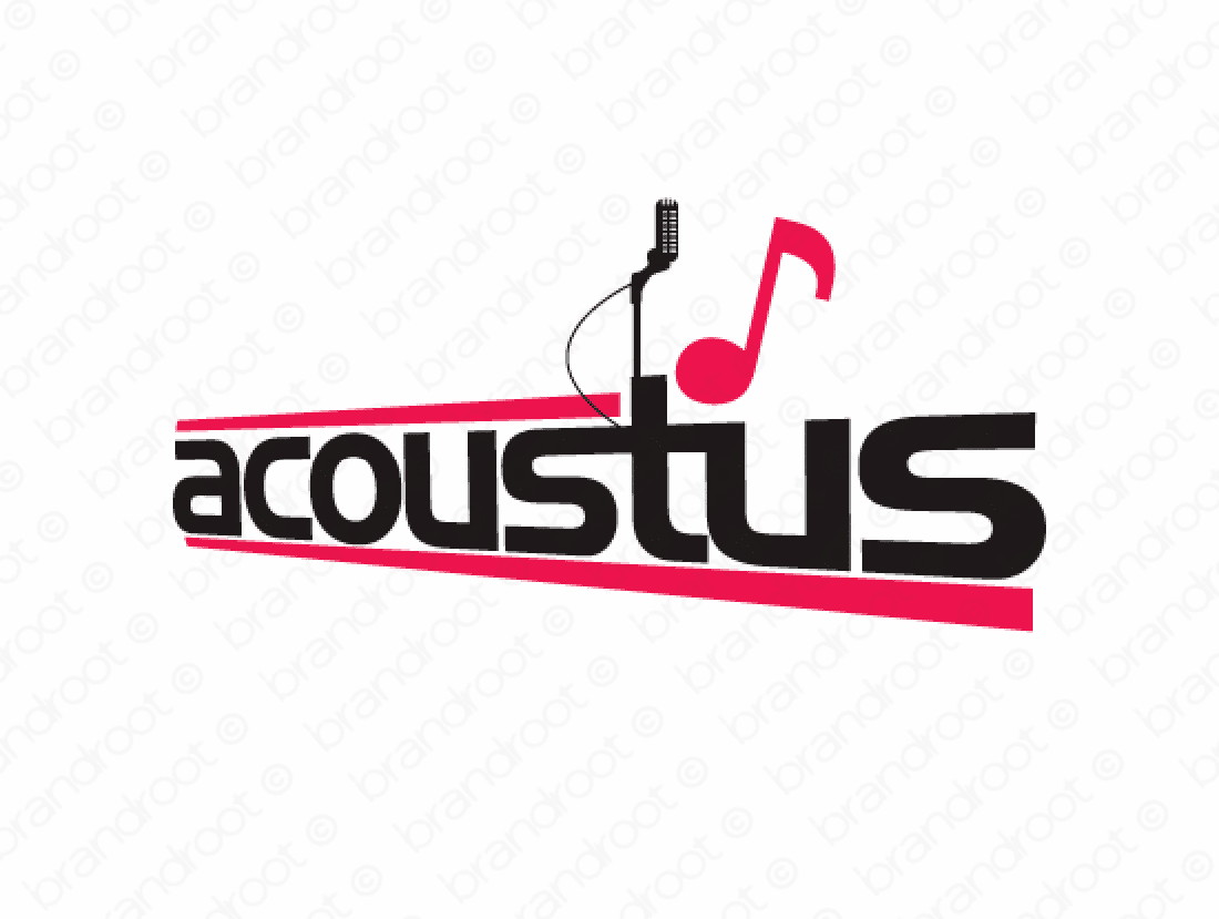 Acoustus logo design included with business name and domain name, Acoustus.com.