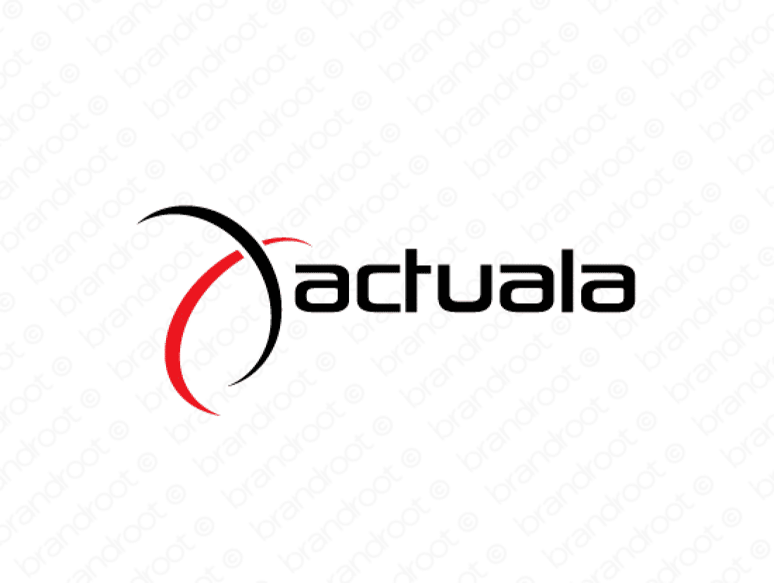 Actuala logo design included with business name and domain name, Actuala.com.