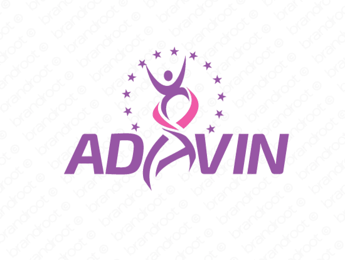 Adavin logo design included with business name and domain name, Adavin.com.
