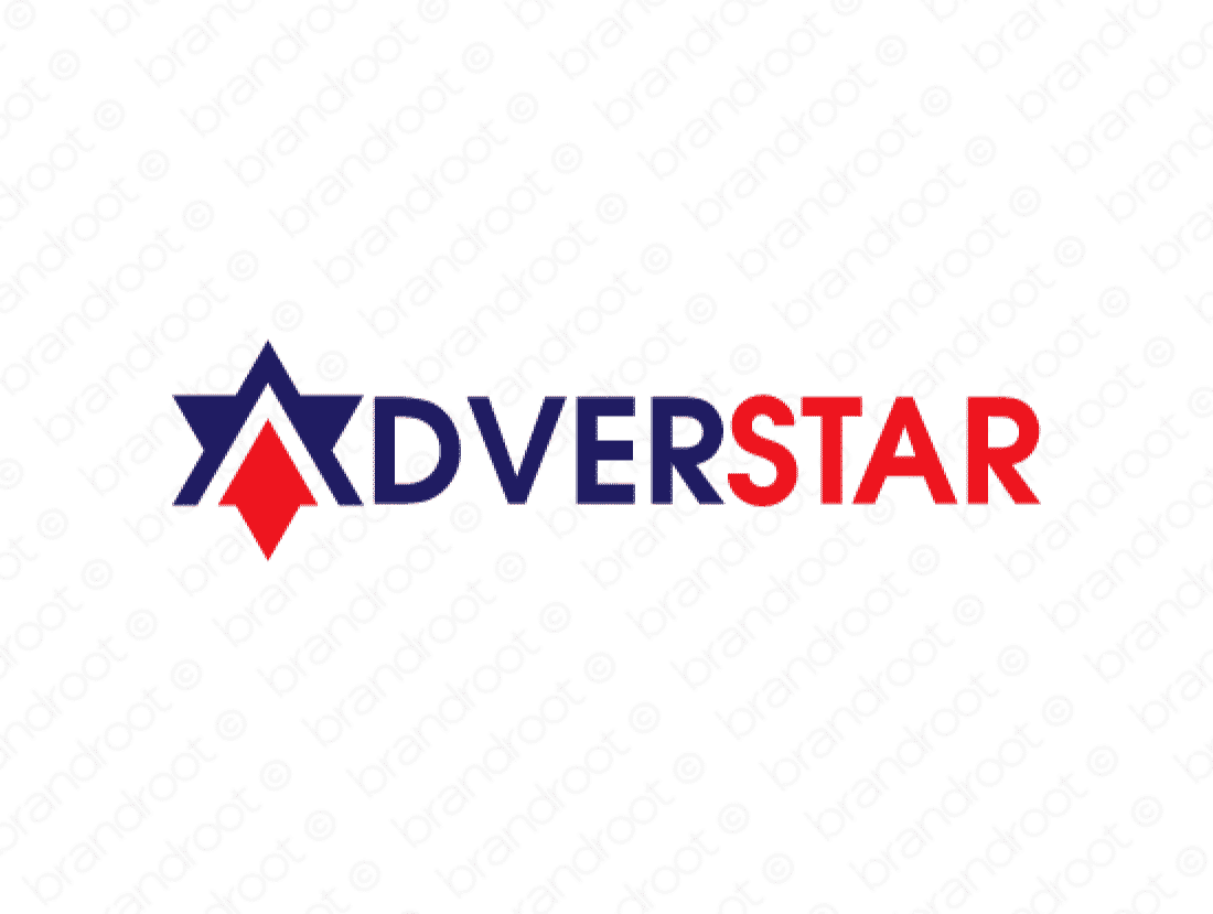 Adverstar logo design included with business name and domain name, Adverstar.com.
