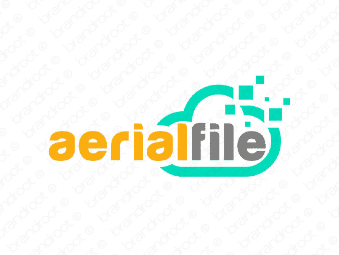 Aerialfile logo design included with business name and domain name, Aerialfile.com.