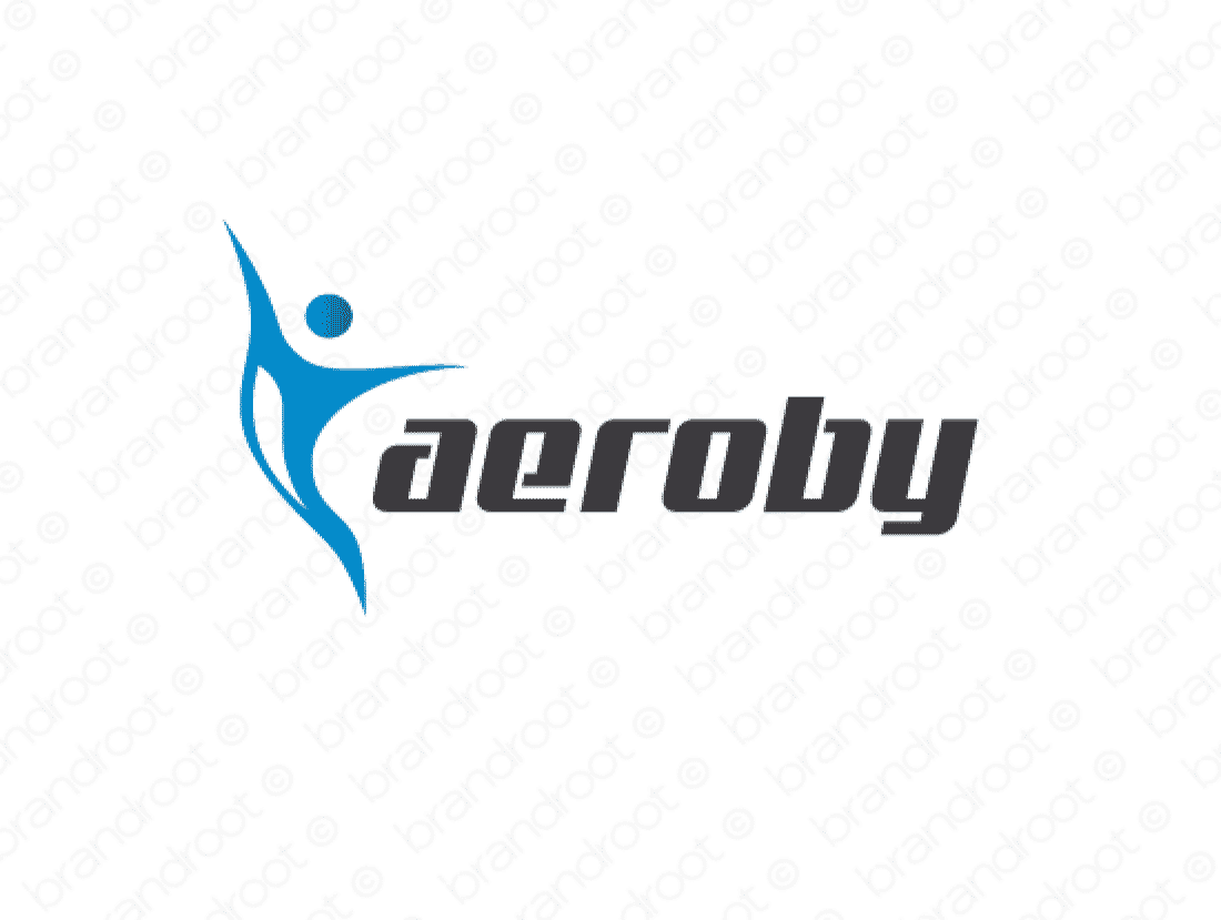 Aeroby logo design included with business name and domain name, Aeroby.com.