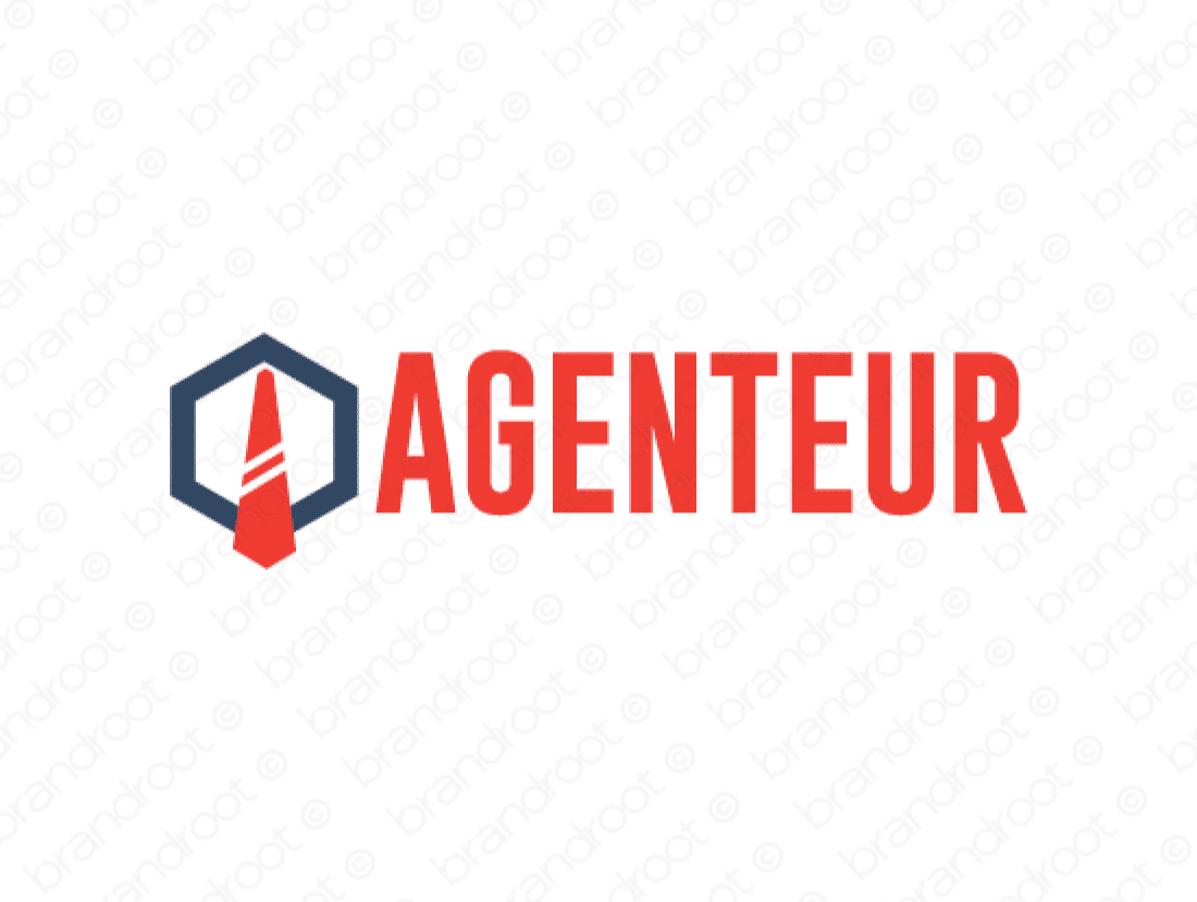 Agenteur logo design included with business name and domain name, Agenteur.com.