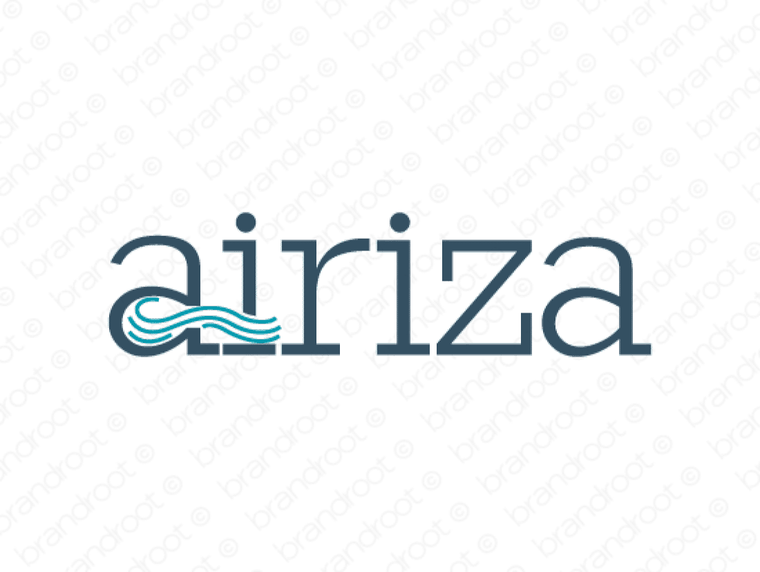 Airiza logo design included with business name and domain name, Airiza.com.