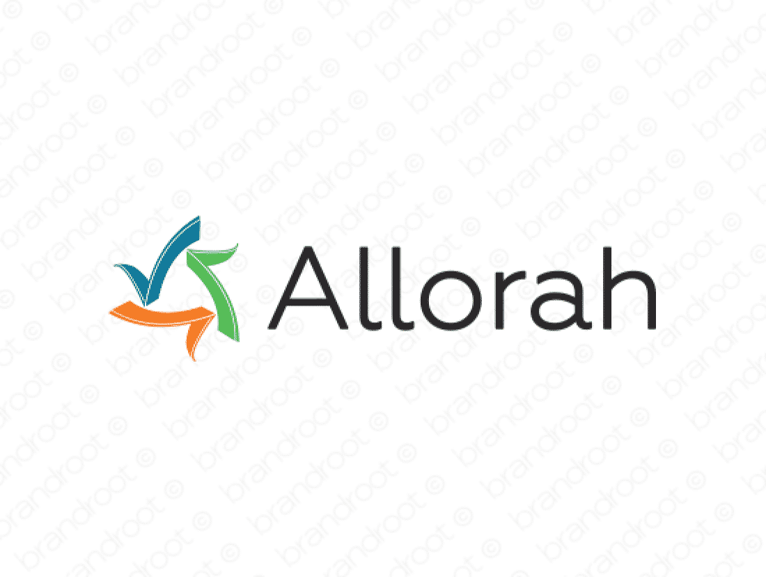 Allorah logo design included with business name and domain name, Allorah.com.
