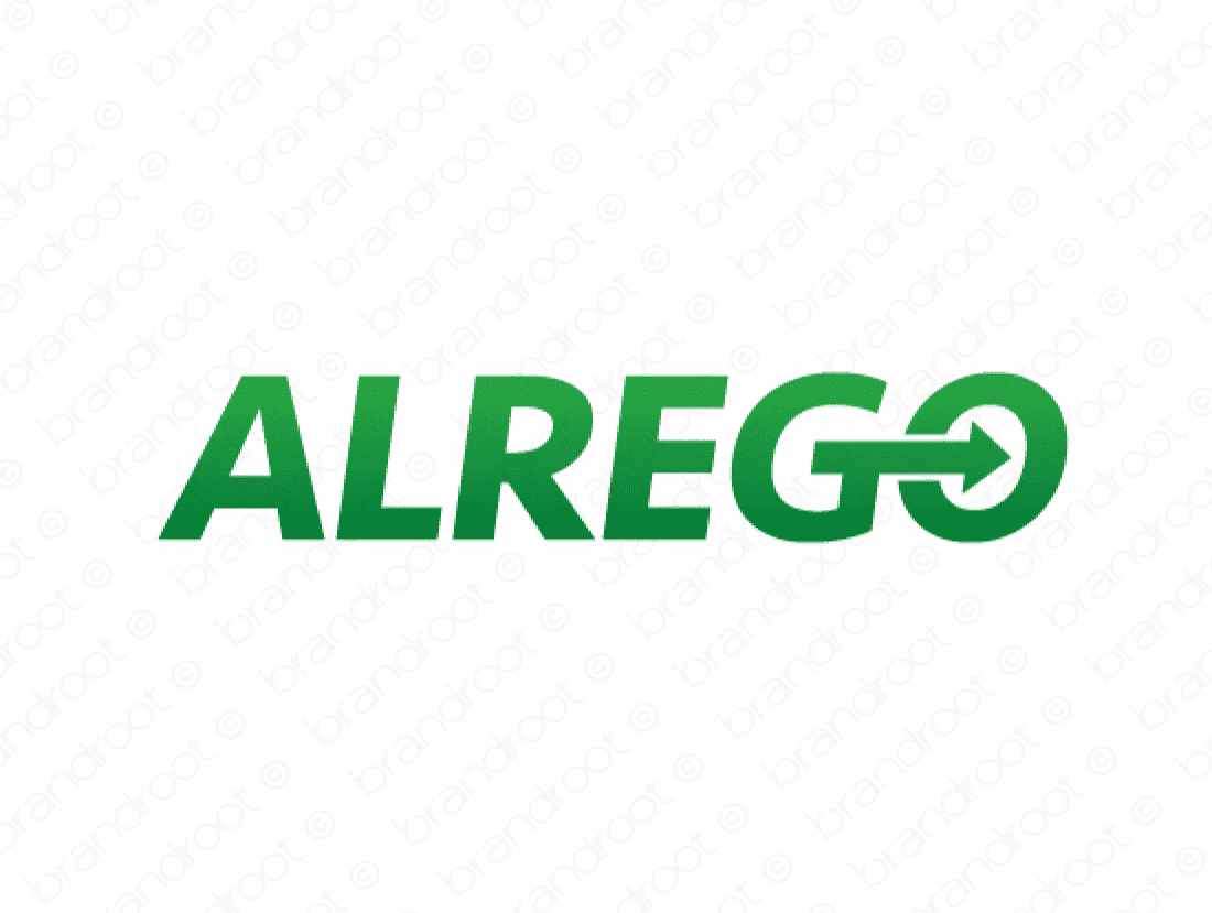 Alrego logo design included with business name and domain name, Alrego.com.