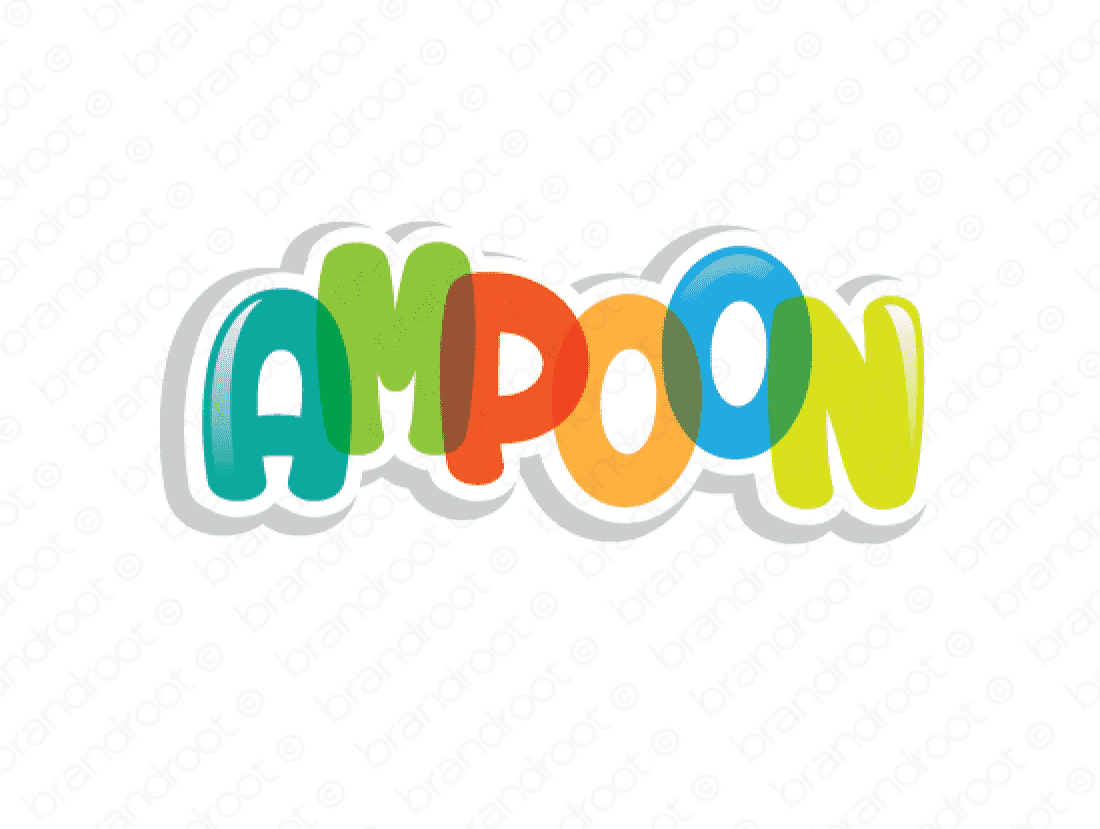 Ampoon logo design included with business name and domain name, Ampoon.com.