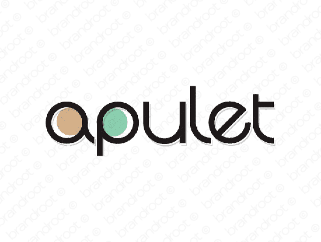 Apulet logo design included with business name and domain name, Apulet.com.