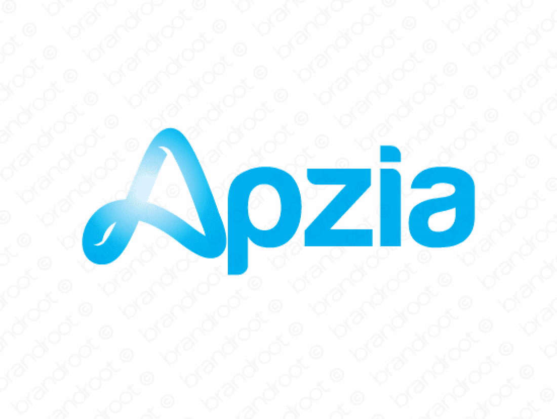 Apzia logo design included with business name and domain name, Apzia.com.