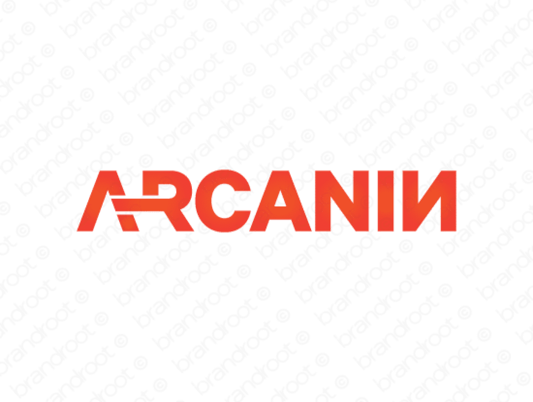 Arcanin logo design included with business name and domain name, Arcanin.com.