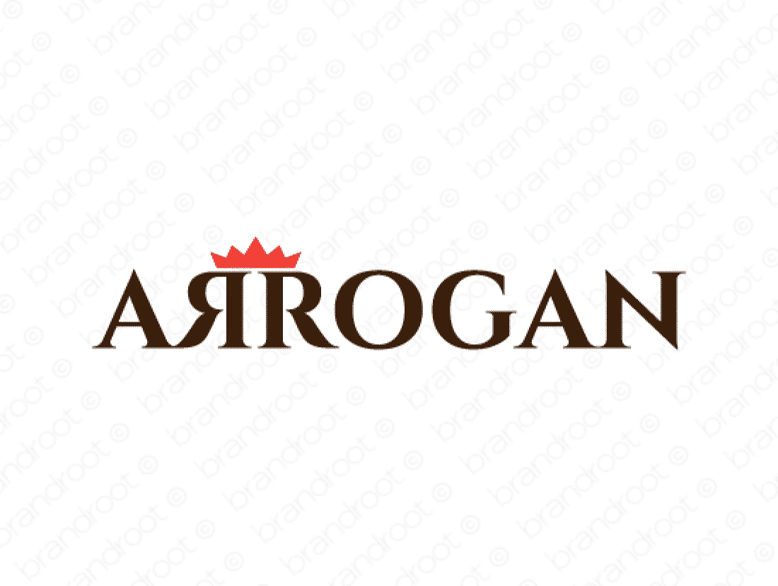 Arrogan logo design included with business name and domain name, Arrogan.com.