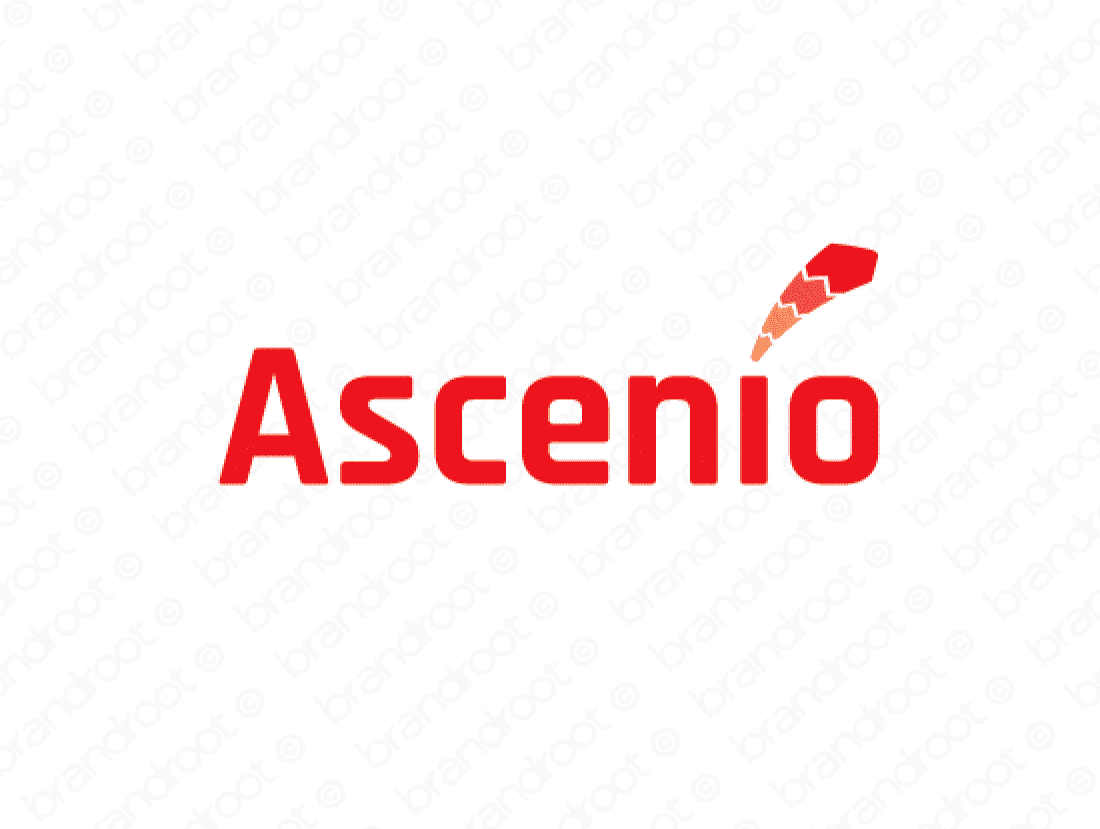 Ascenio logo design included with business name and domain name, Ascenio.com.