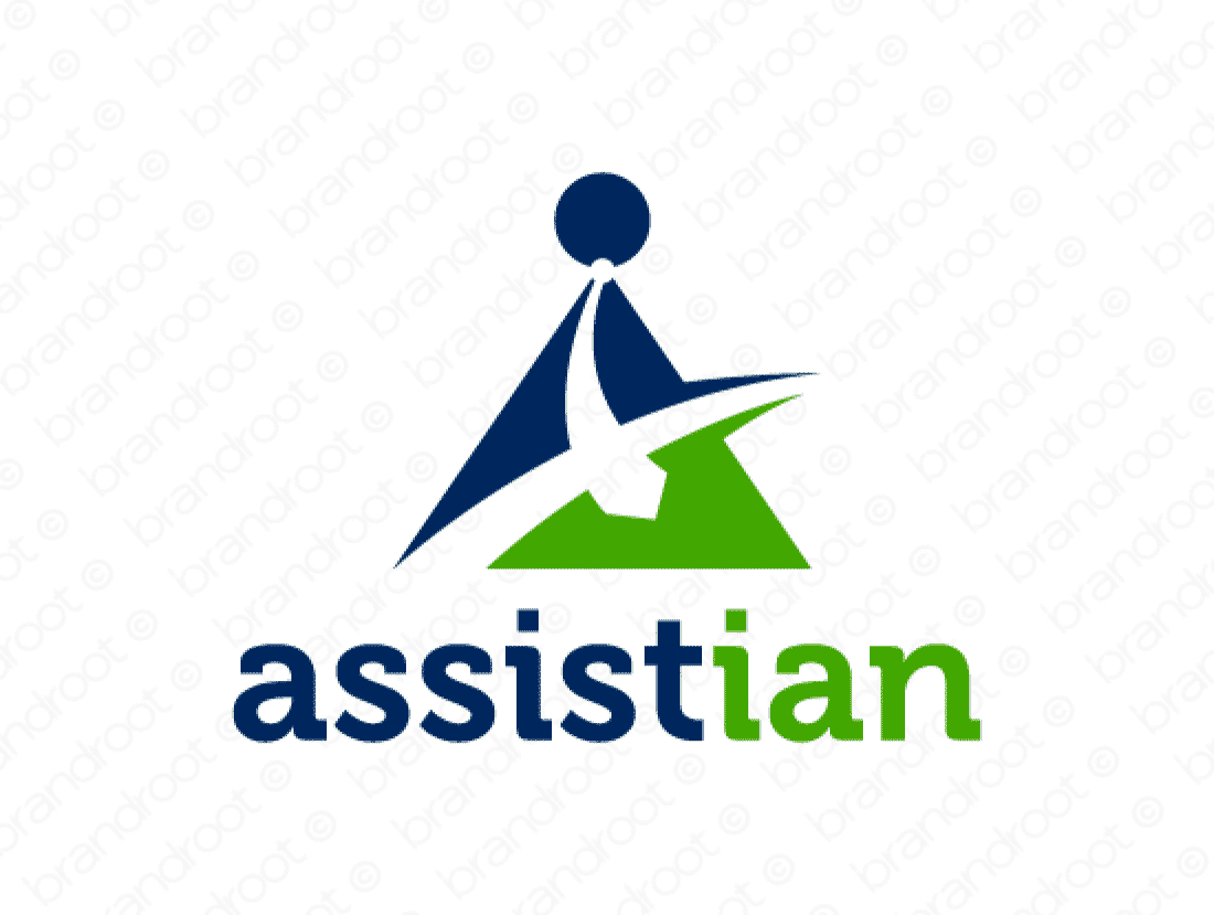 Assistian logo design included with business name and domain name, Assistian.com.