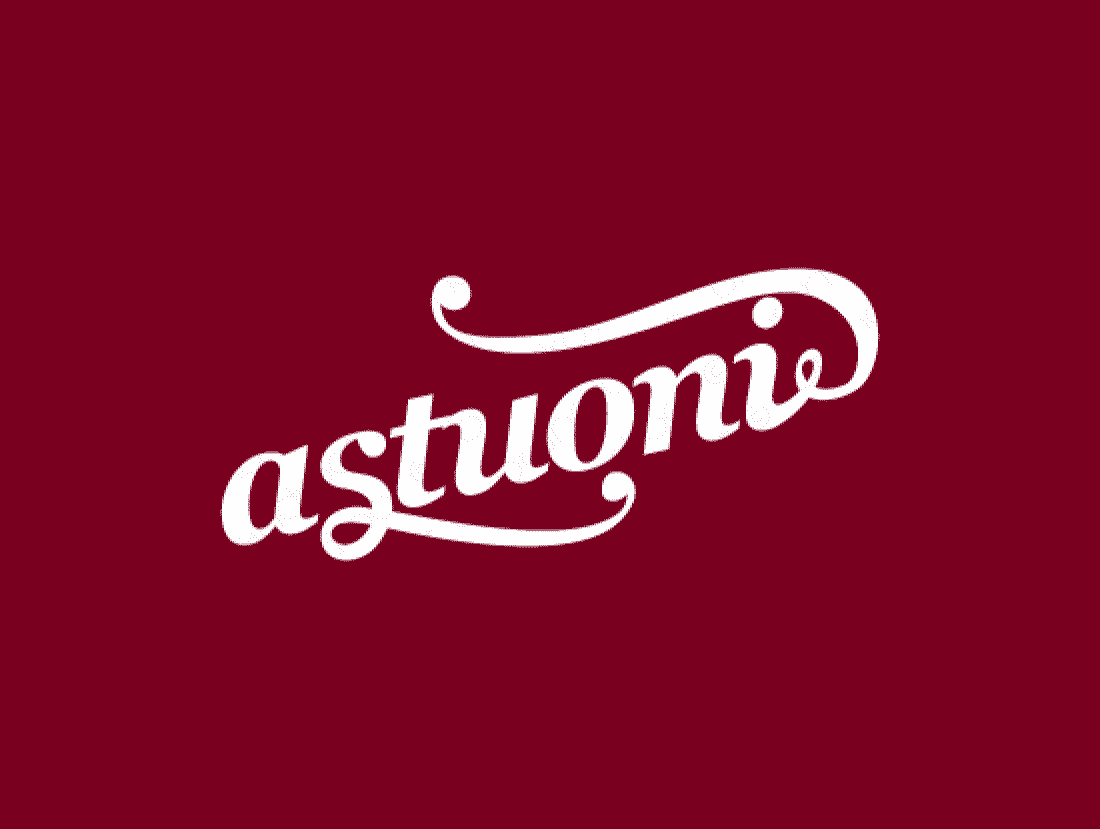 Astuoni logo design included with business name and domain name, Astuoni.com.
