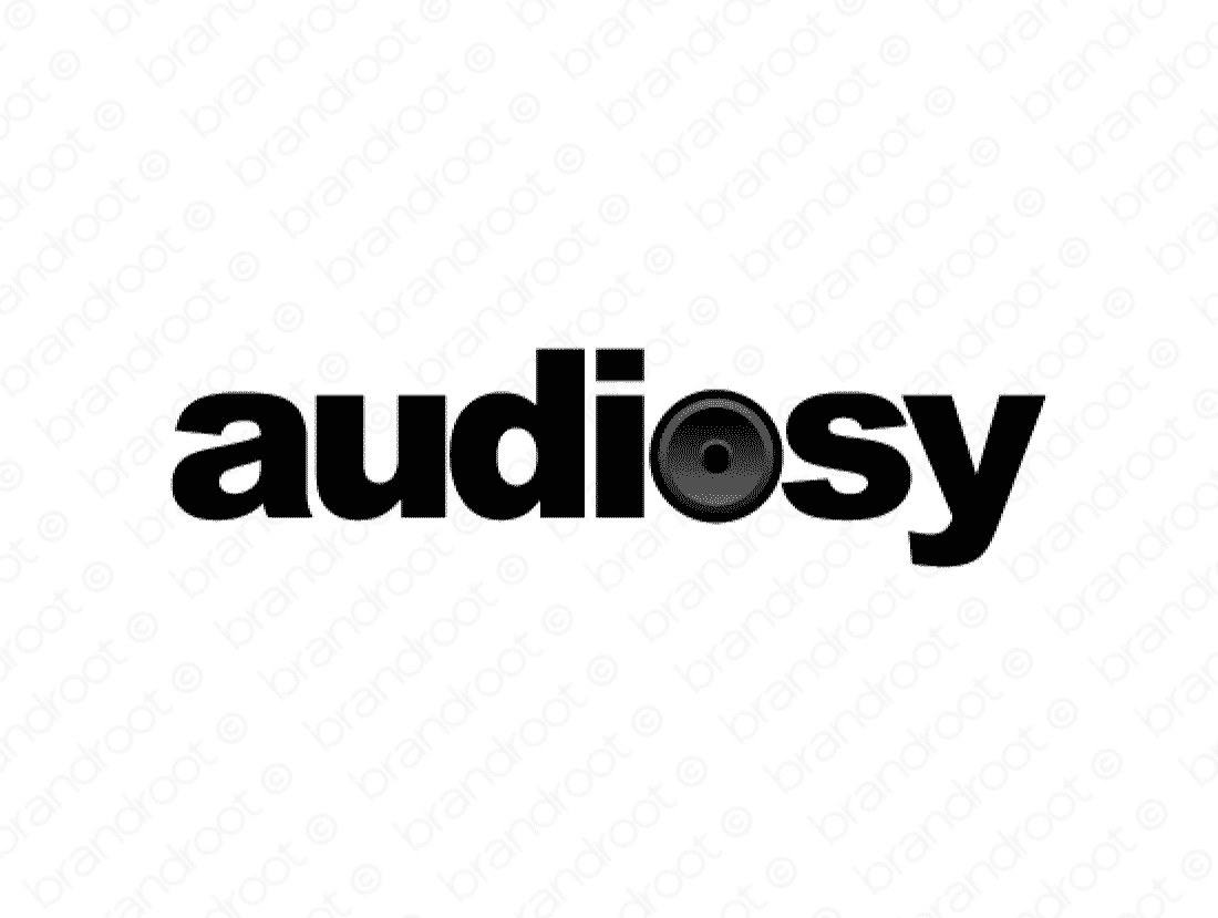 Audiosy logo design included with business name and domain name, Audiosy.com.
