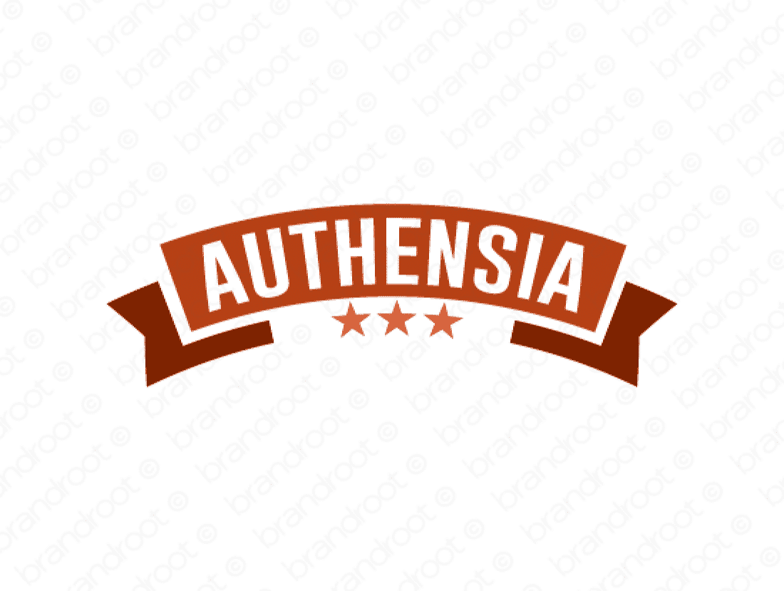 Authensia logo design included with business name and domain name, Authensia.com.