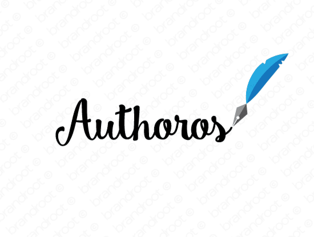 Authoros logo design included with business name and domain name, Authoros.com.