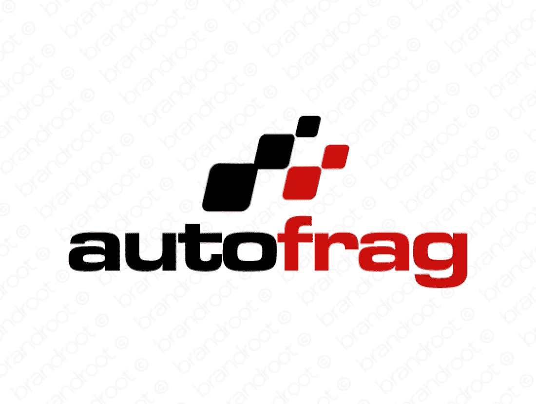 Autofrag logo design included with business name and domain name, Autofrag.com.