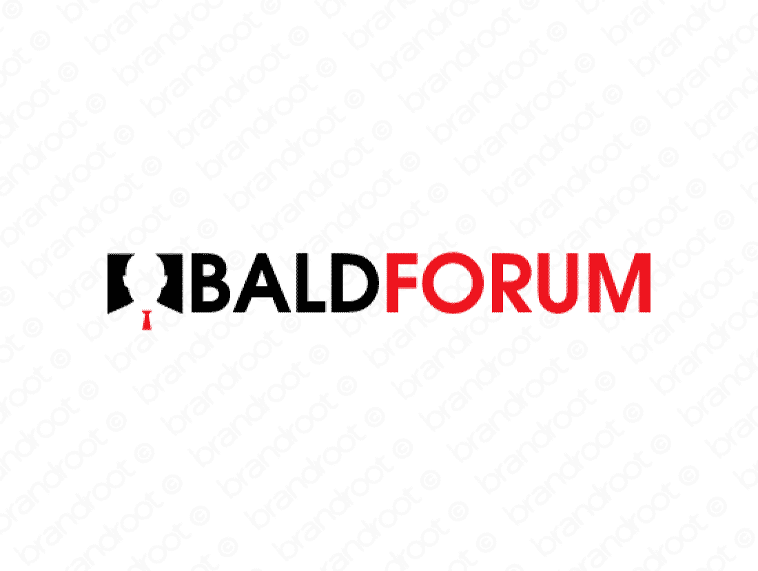 Baldforum logo design included with business name and domain name, Baldforum.com.
