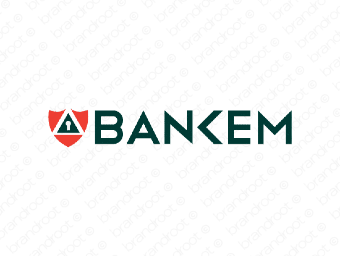 Bankem logo design included with business name and domain name, Bankem.com.