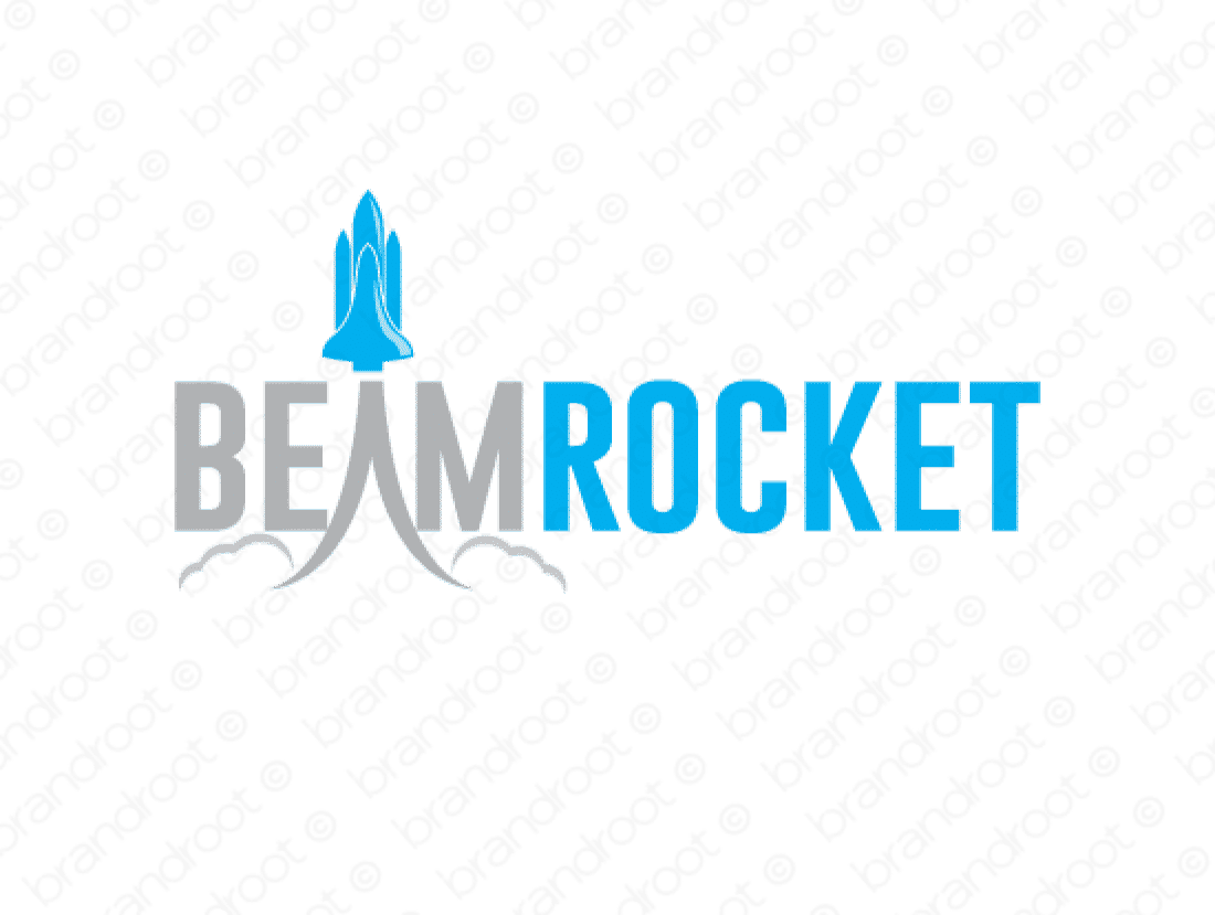 Beamrocket logo design included with business name and domain name, Beamrocket.com.