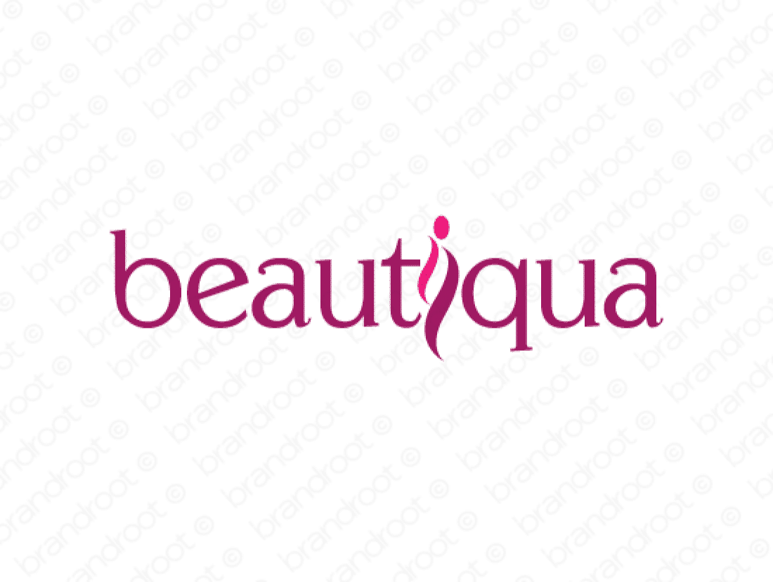 Beautiqua logo design included with business name and domain name, Beautiqua.com.