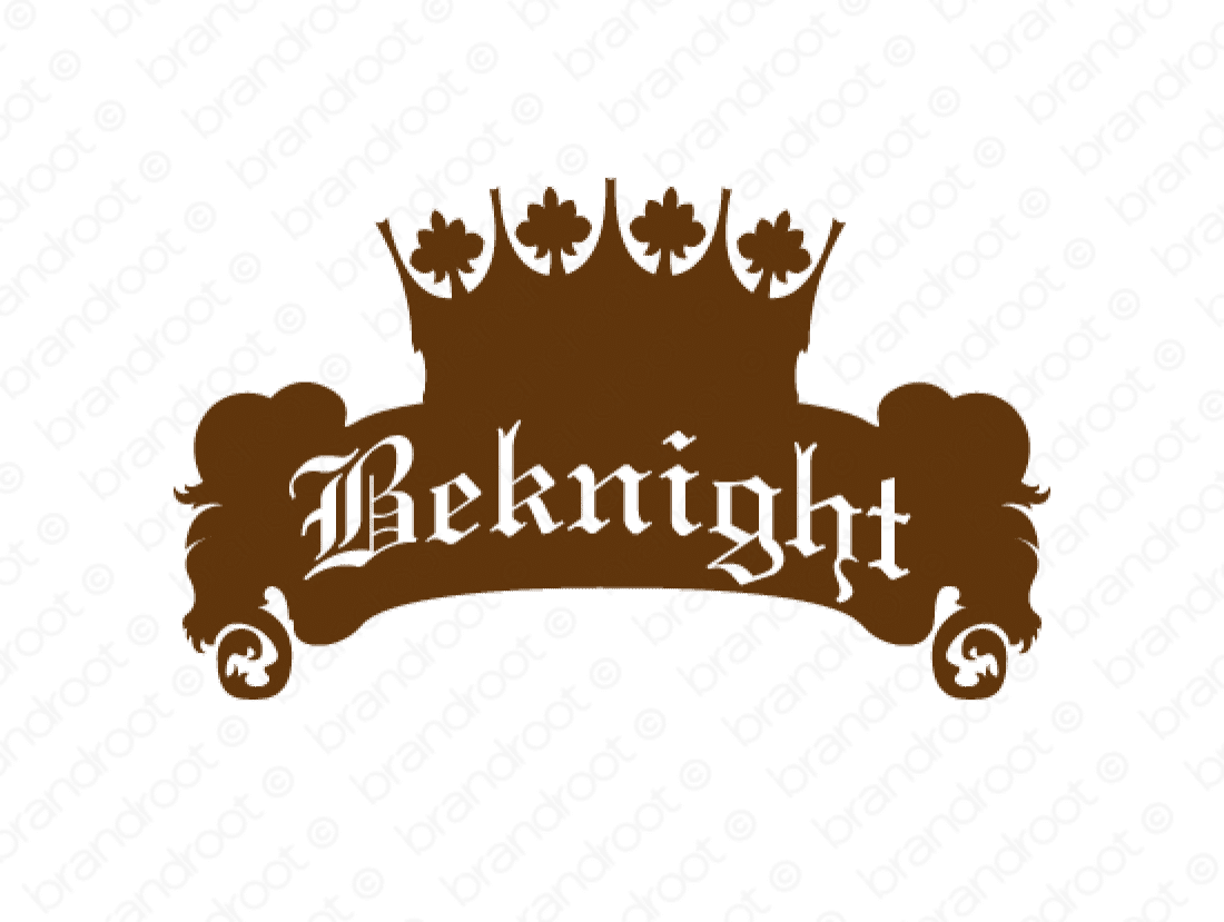 Beknight logo design included with business name and domain name, Beknight.com.