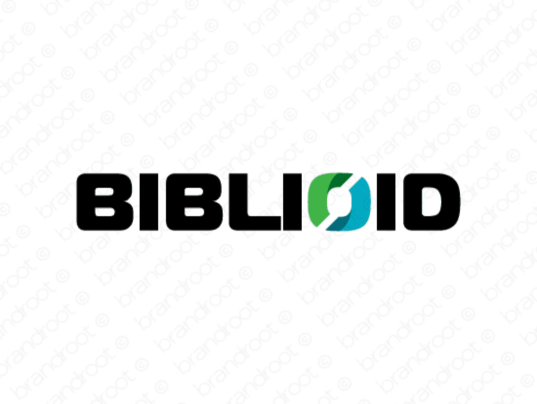 Biblioid logo design included with business name and domain name, Biblioid.com.