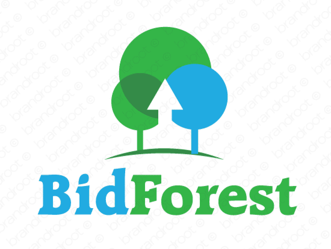 Bidforest logo design included with business name and domain name, Bidforest.com.
