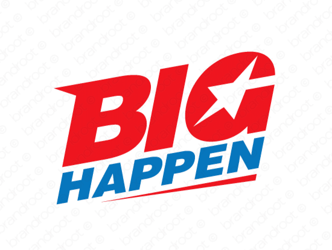 Bighappen logo design included with business name and domain name, Bighappen.com.