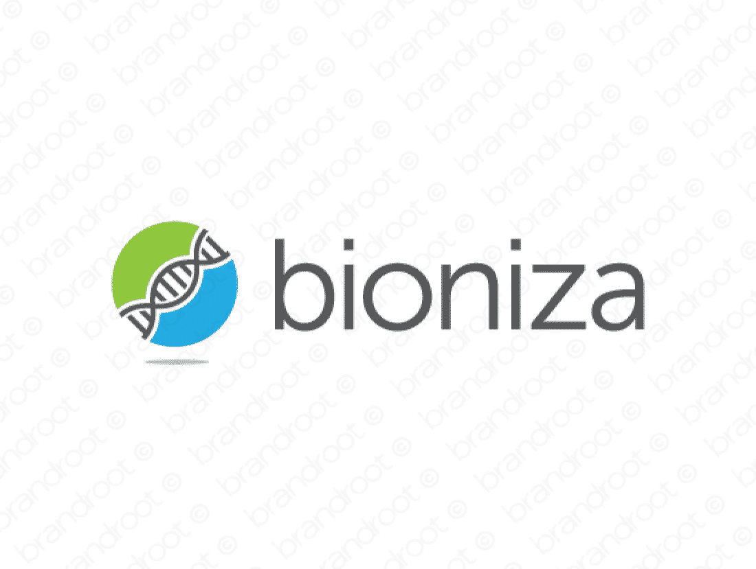 Bioniza logo design included with business name and domain name, Bioniza.com.