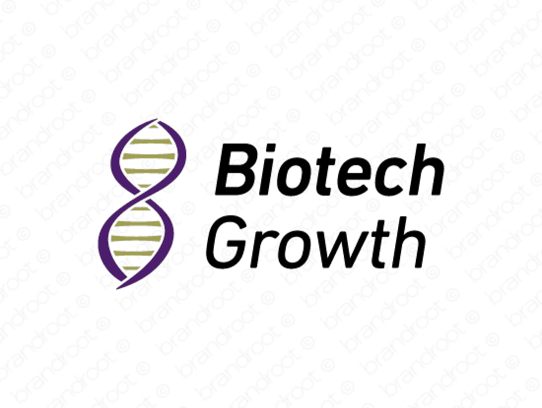 Biotechgrowth logo design included with business name and domain name, Biotechgrowth.com.