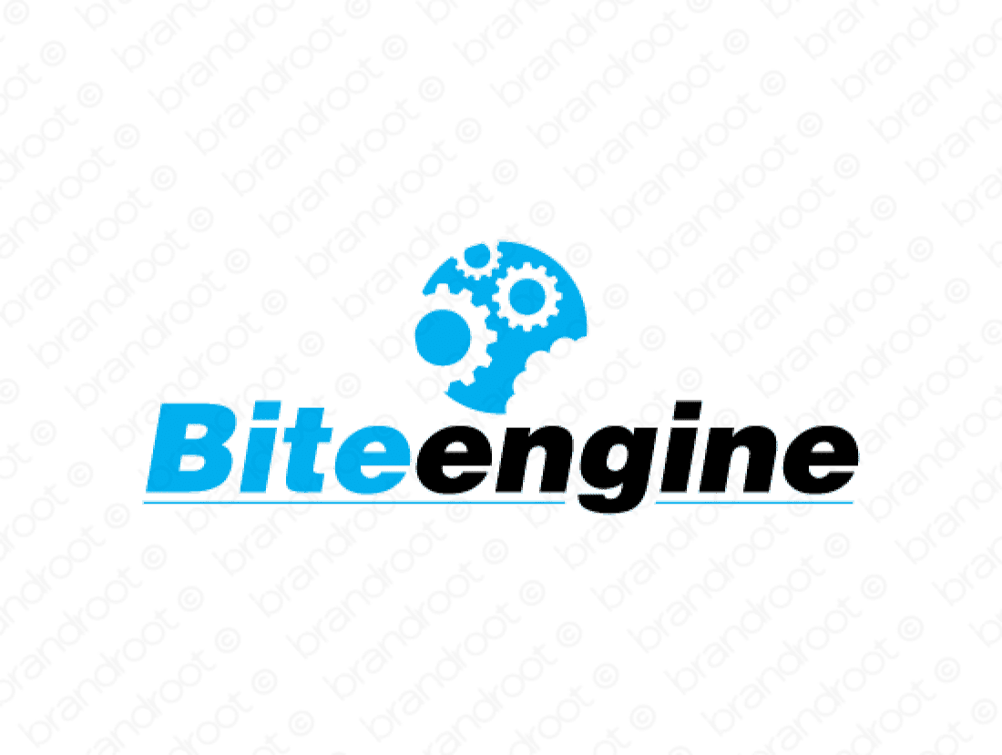 Biteengine logo design included with business name and domain name, Biteengine.com.