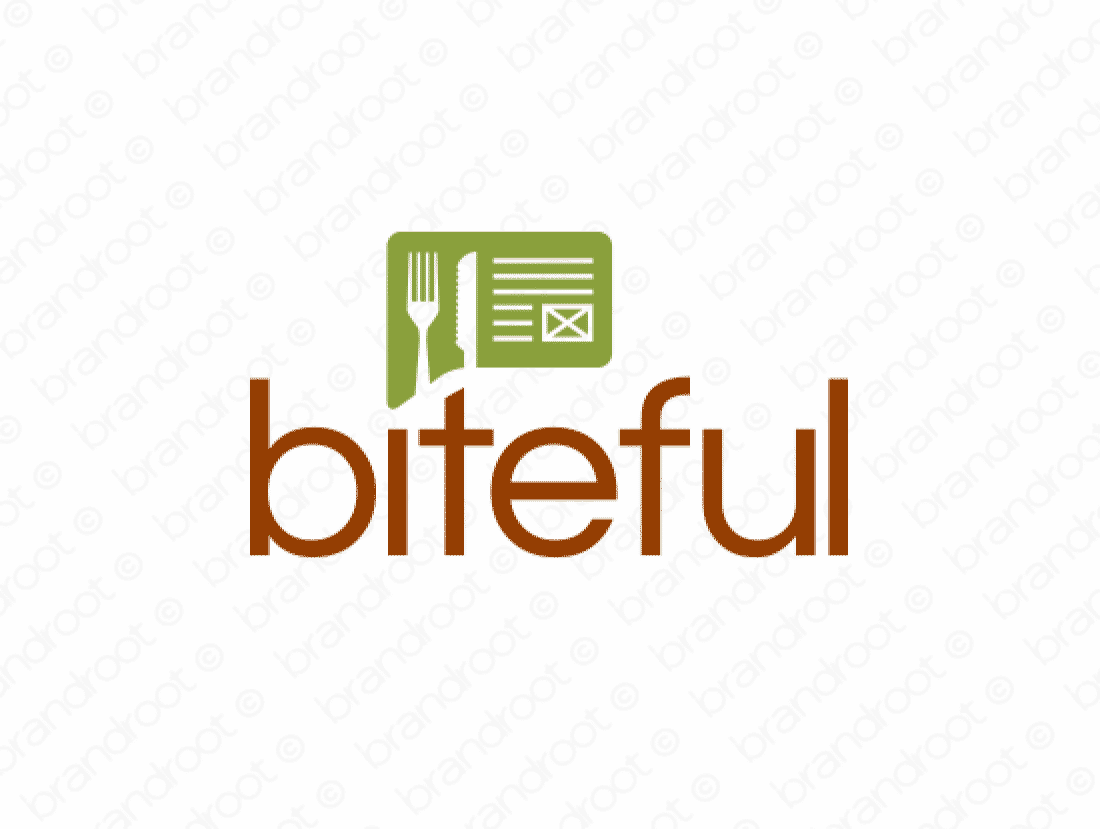 Biteful logo design included with business name and domain name, Biteful.com.