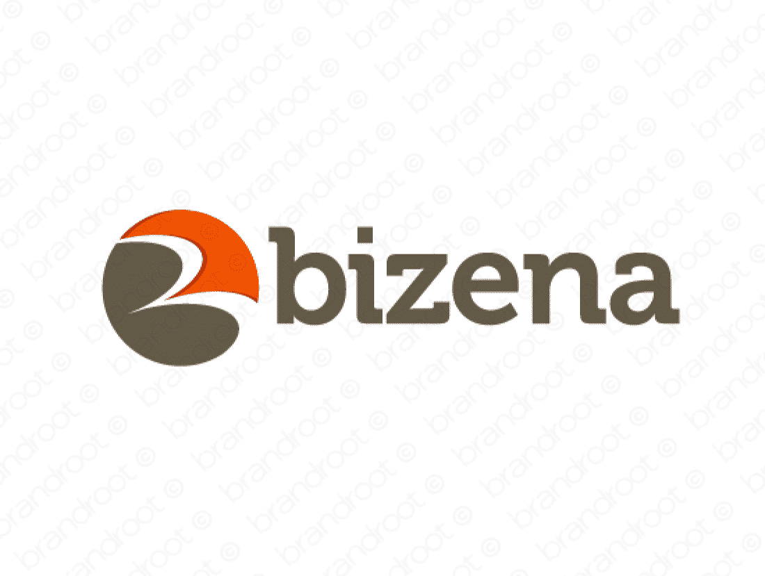 Bizena logo design included with business name and domain name, Bizena.com.