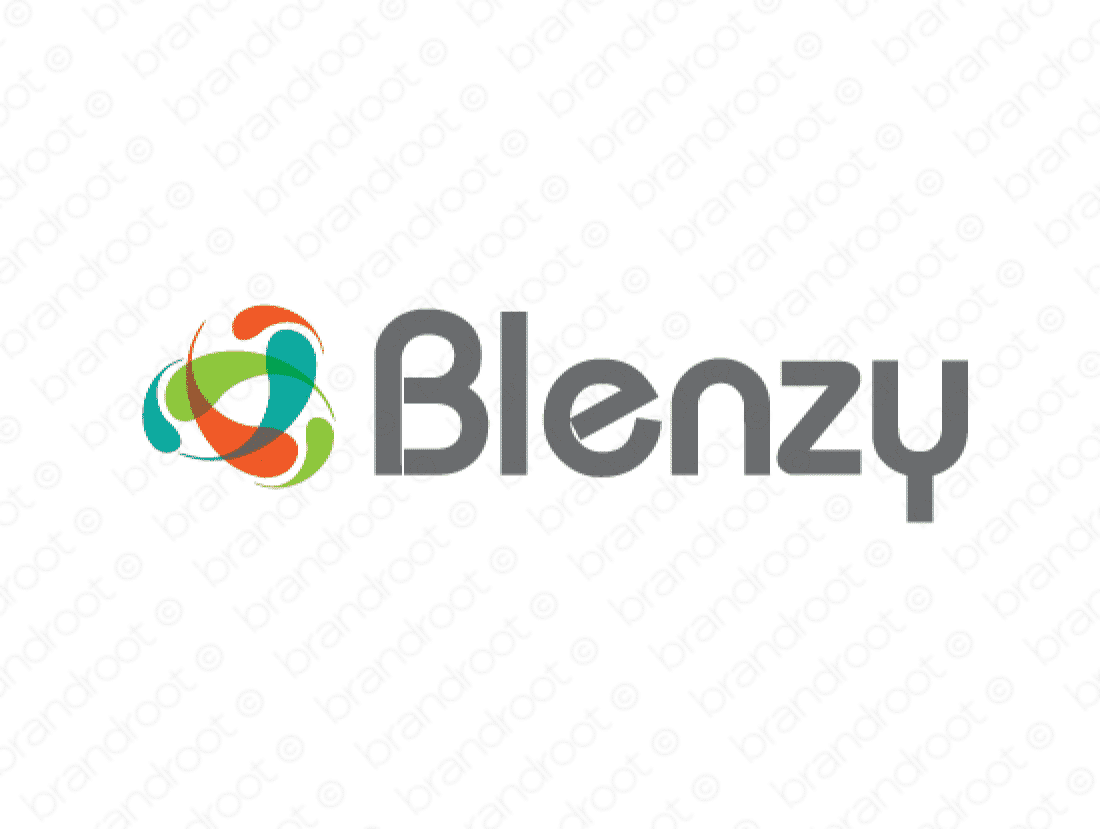 Blenzy logo design included with business name and domain name, Blenzy.com.