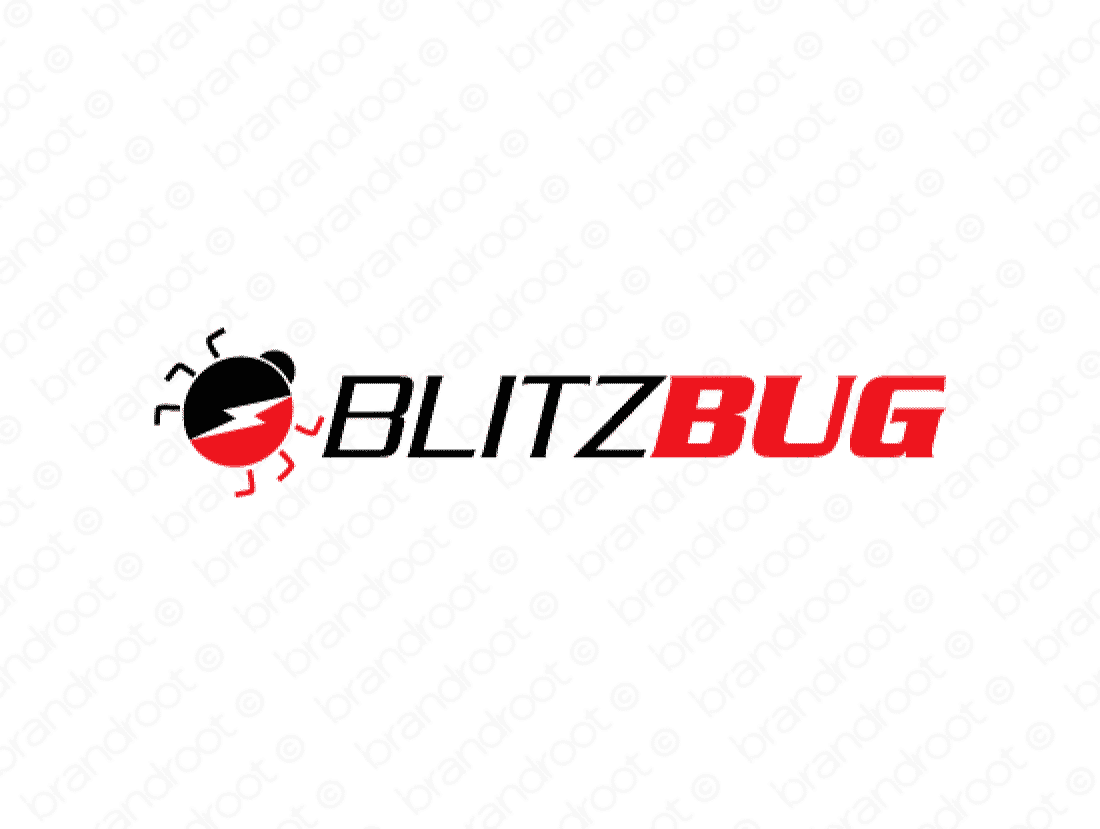 Blitzbug logo design included with business name and domain name, Blitzbug.com.