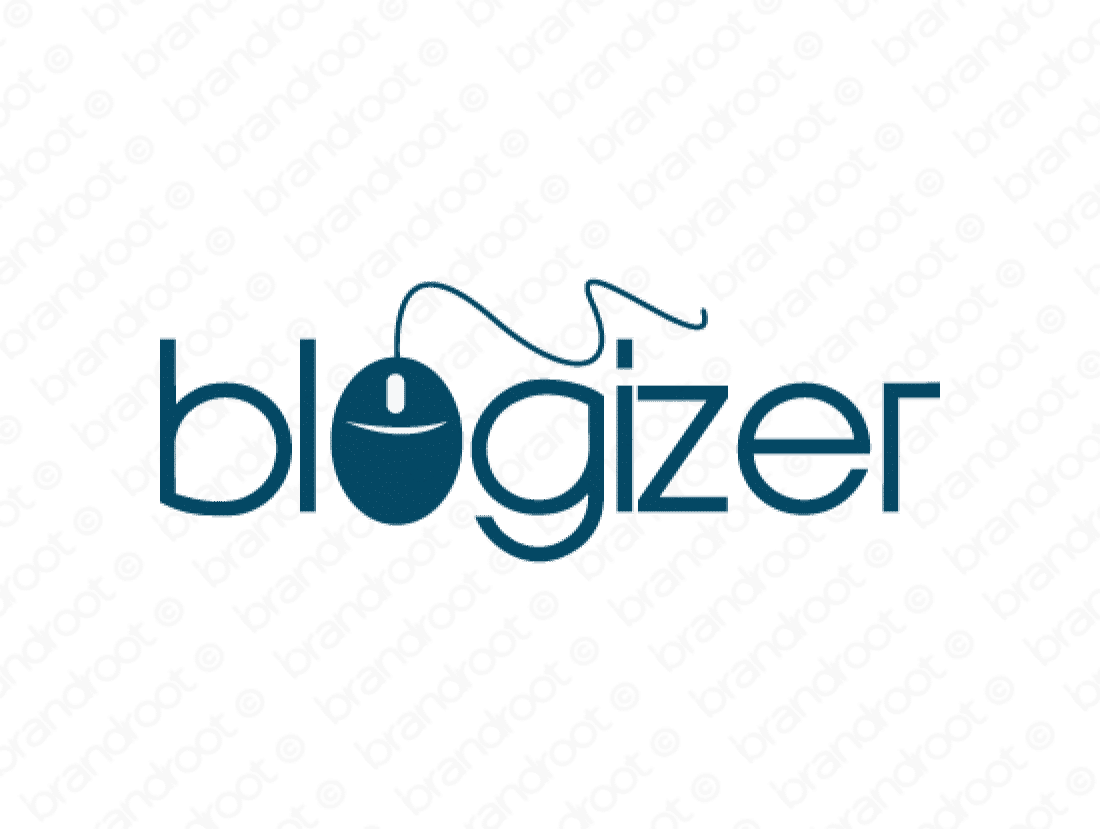 Blogizer logo design included with business name and domain name, Blogizer.com.