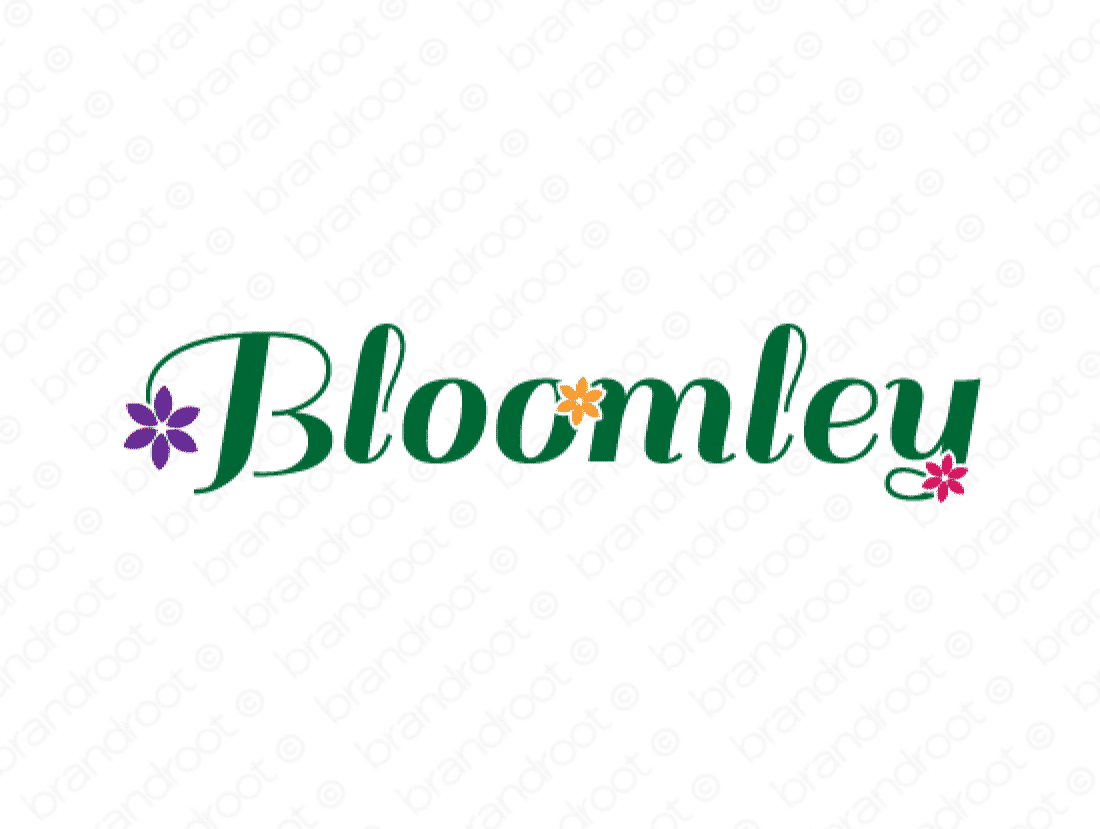 Bloomley logo design included with business name and domain name, Bloomley.com.