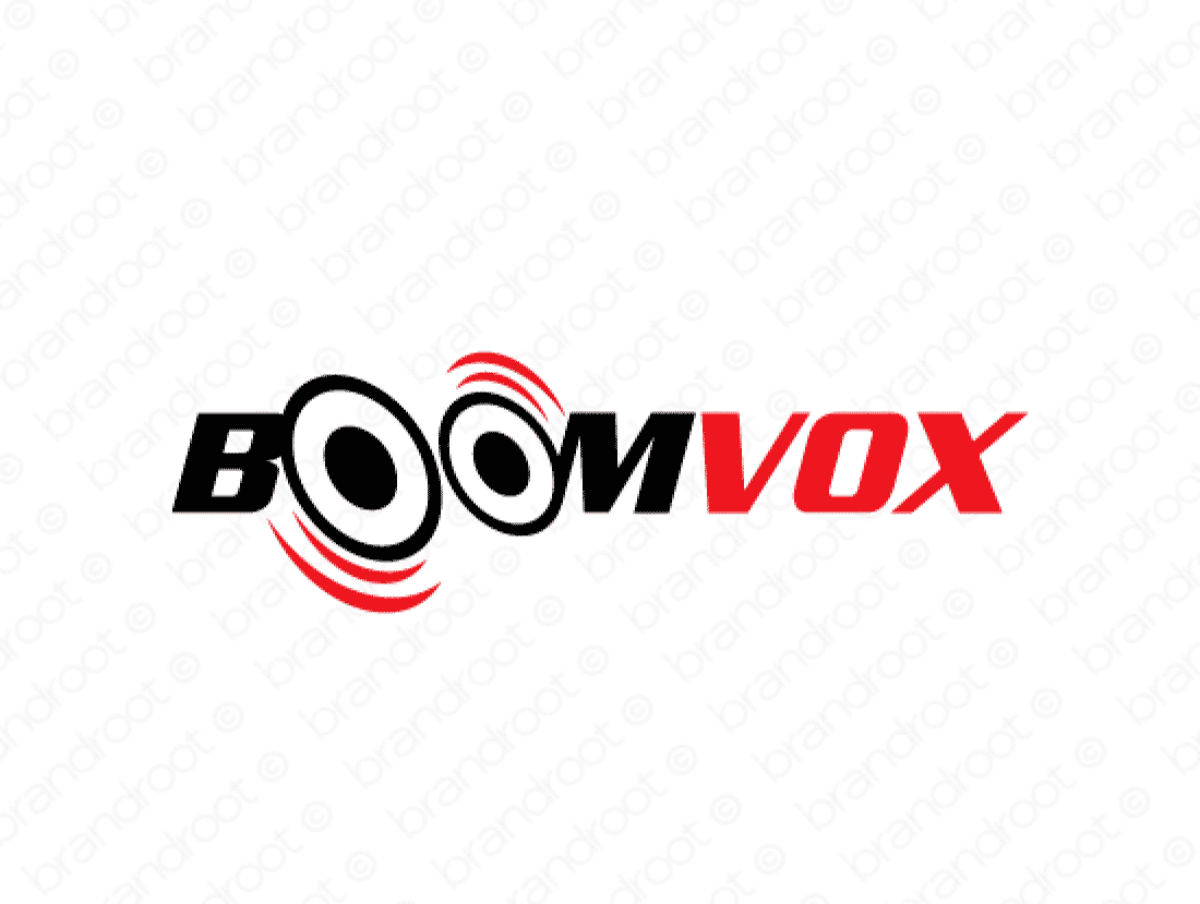 Boomvox logo design included with business name and domain name, Boomvox.com.