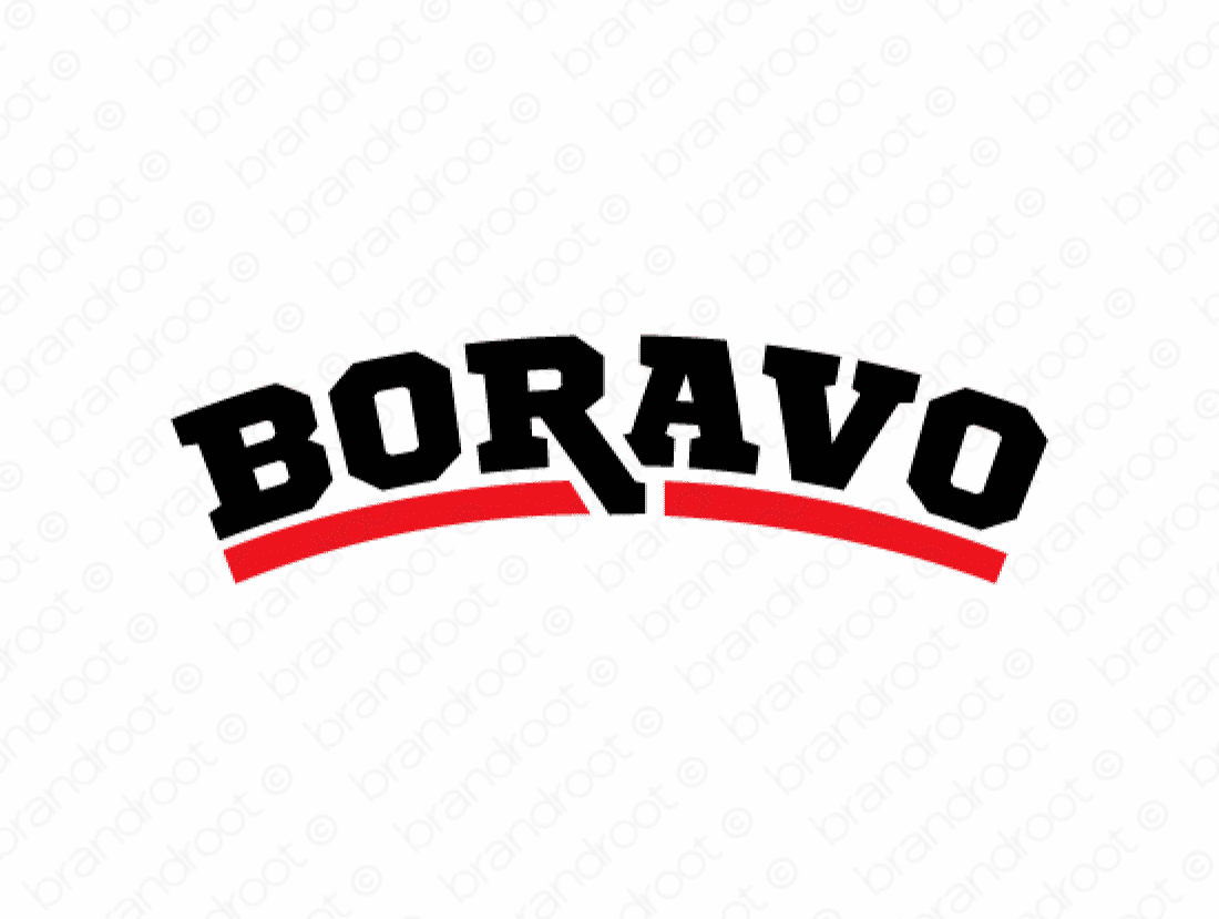 Boravo logo design included with business name and domain name, Boravo.com.