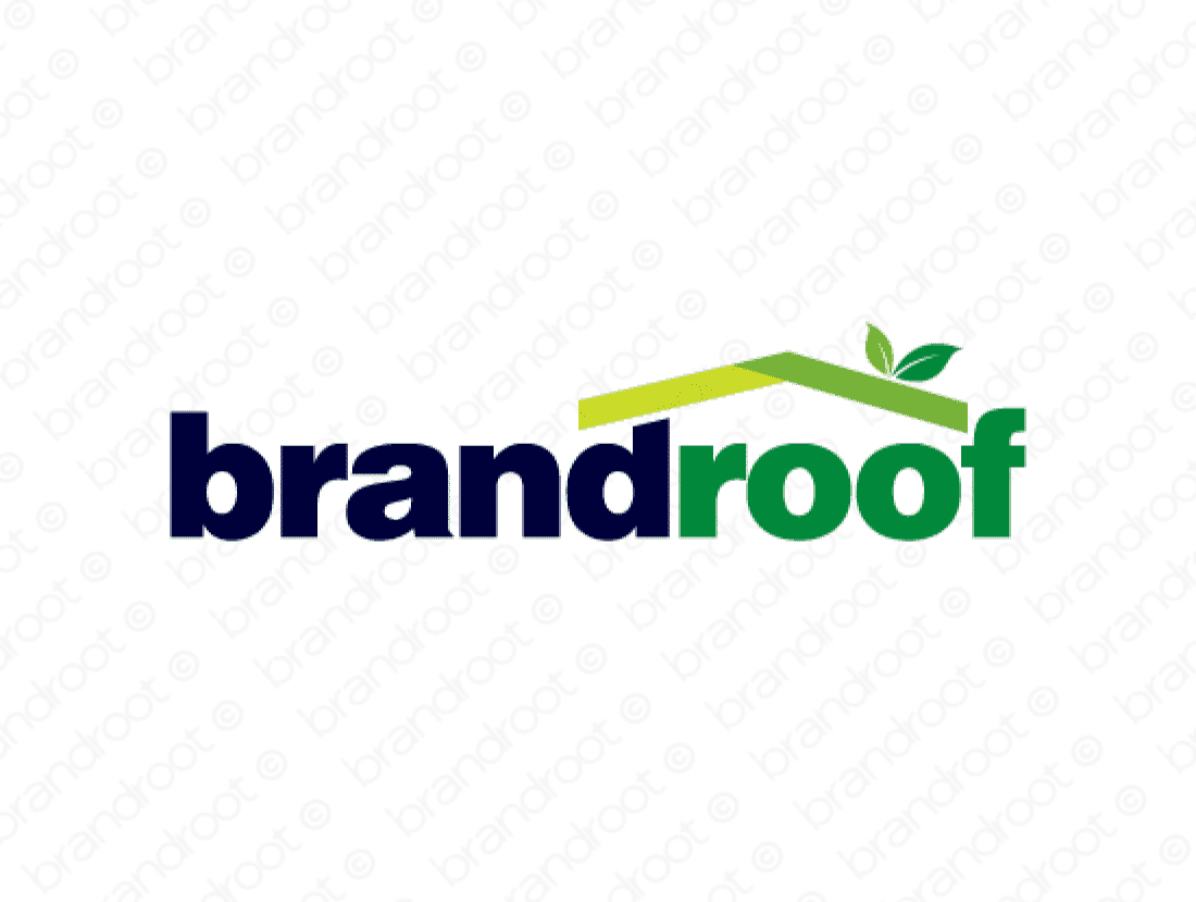 Brandroof logo design included with business name and domain name, Brandroof.com.