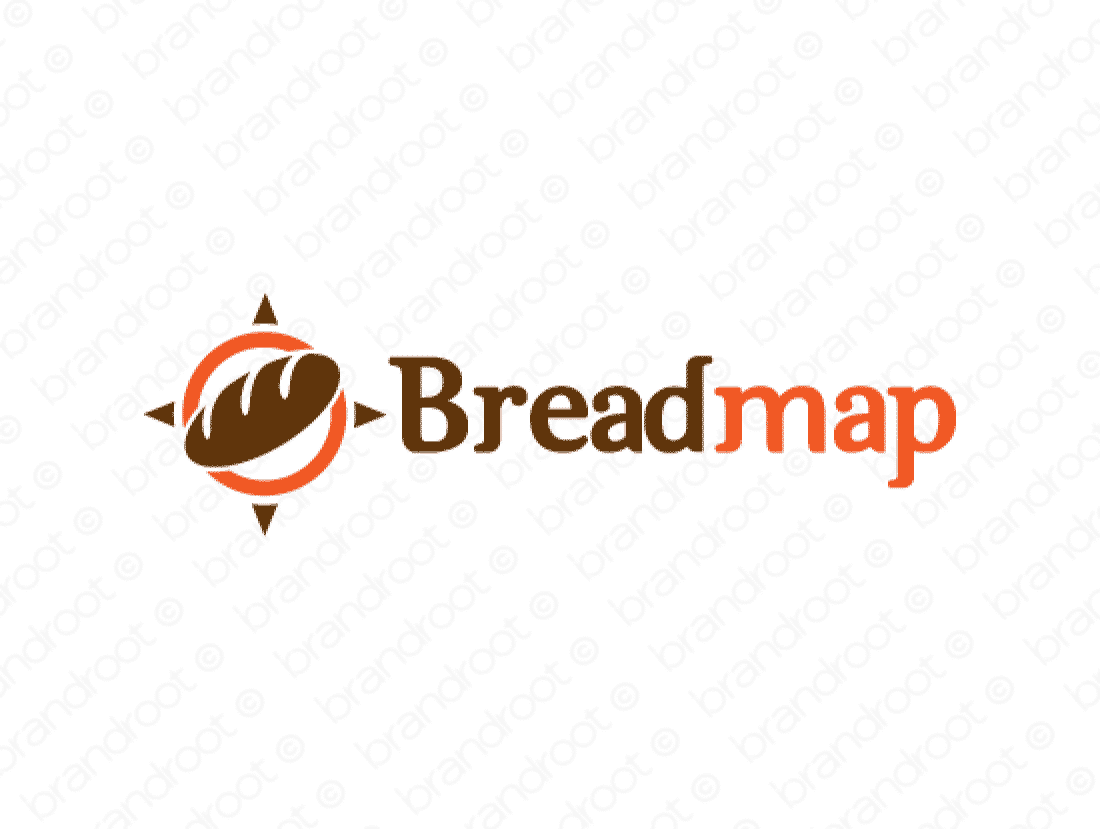 Breadmap logo design included with business name and domain name, Breadmap.com.