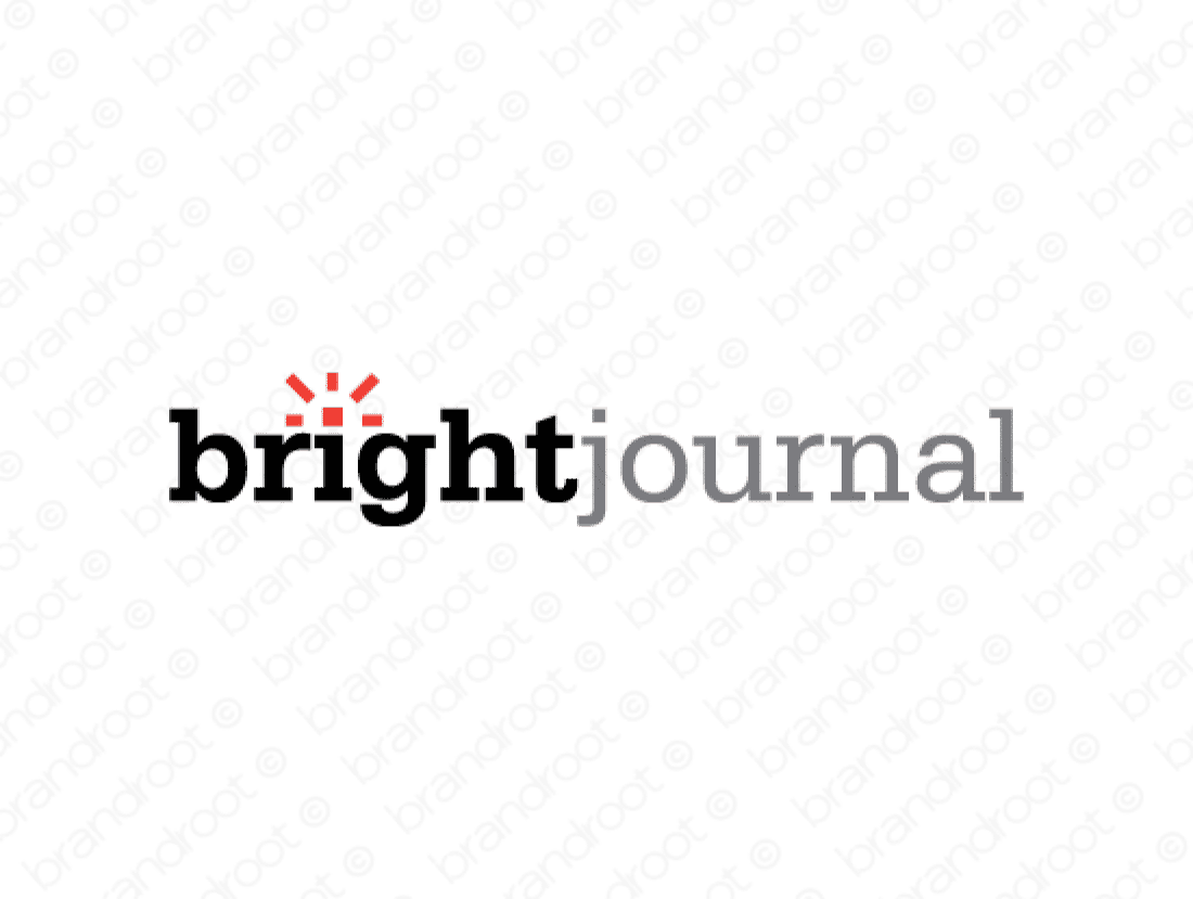 Brightjournal logo design included with business name and domain name, Brightjournal.com.