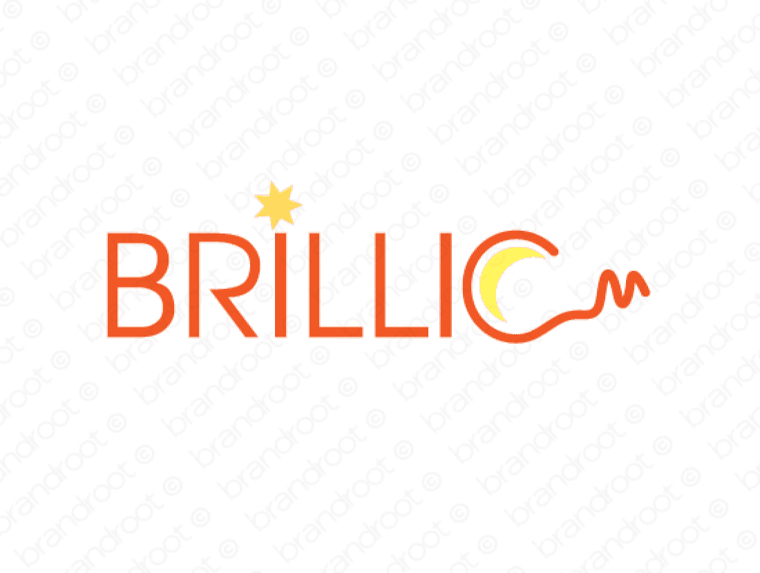 Brillic logo design included with business name and domain name, Brillic.com.
