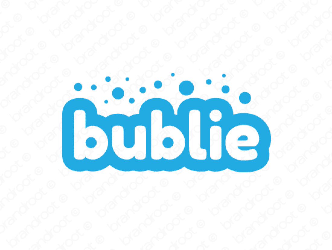 Bublie logo design included with business name and domain name, Bublie.com.