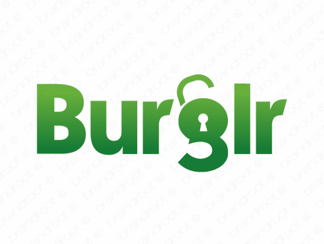 Burglr logo design included with business name and domain name, Burglr.com.